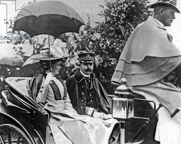 Archduke Franz Ferdinand and his wife Archduchess of Hohenberg, c.1914 (b/w photo)