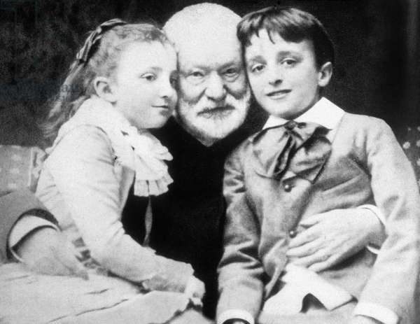 French writer Victor Hugo with grandchildren Jeanne and Georges, 1859