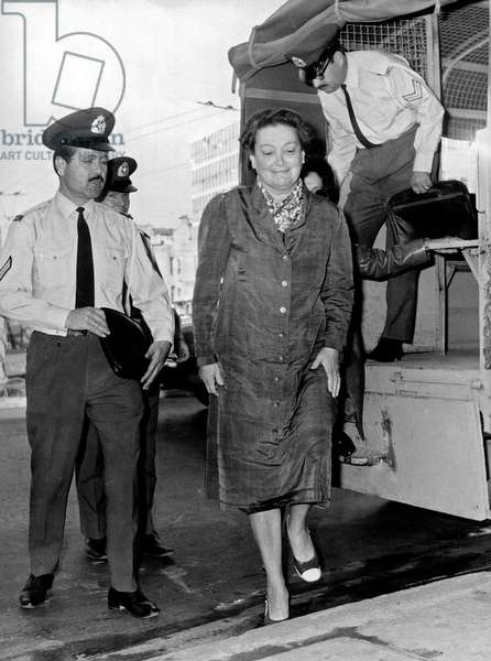 Lady Amalia Fleming (Alexander Fleming's widow) here arriving at military court in Athens where she will be judged for opposition to the military regime of Zoitakis , along with Constantin Androutsopoulos and John Skelton September 30, 1971 justice proces trial femme woman