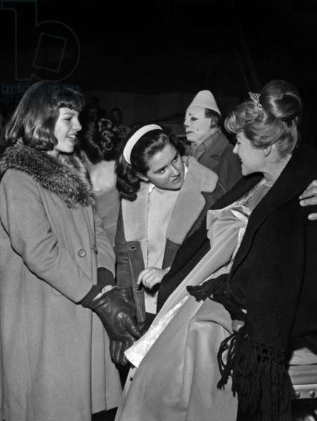 "Yasmine Khan (AlyKahn's daughter) with her mother Rita Hayworth on set of film ""Circus World"", Madrid, January 8, 1964"