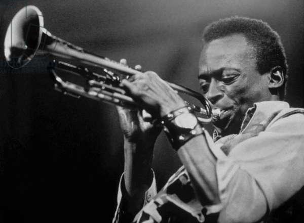 American jazz trumpeter Miles Davis playing trumpet, on November 3, 1969