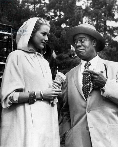 Louis Armstrong and Grace Kelly in Hollywood on January 22, 1956