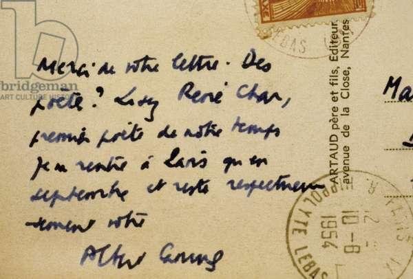 Postcard written by Albert Camus 1954