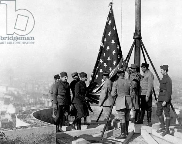 American flag put on the top of Vincennes Castle near Paris to celebrate Victory and Armistice og November 11, 1918