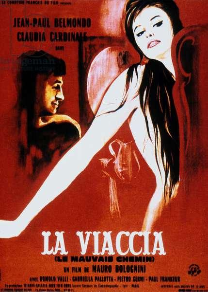 Affiche du film Le mauvais chemin La Viaccia de MauroBolognini avec Jean-Paul Belmondo et Claudia Cardinale 1960