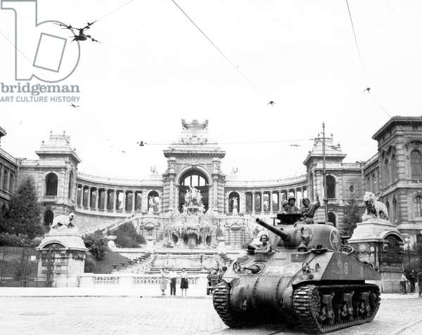 Liberation of Marseille, France, August 23, 1944 : Sherman tank of the 2nd Cuirassier Regiment outside the Palais Longchamp