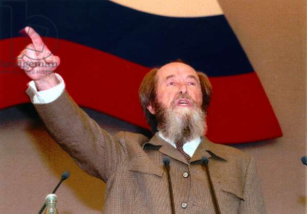 Alexander Solzhenitsyn (1918-2008) addressing the deputies of the State Duma in Moscow, his first public speech after a 20 year-exile October 28, 1994