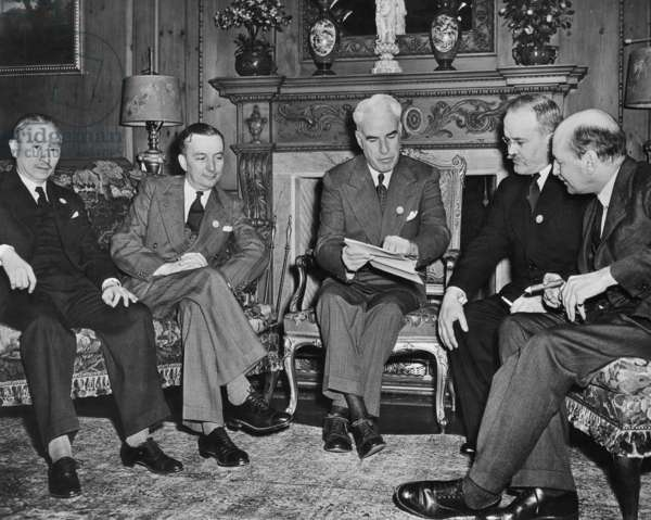 Wellington Koo China is Ambassador to Britain and former Minister for Foreign Affairs George Bidault French minister of Foreign Affairs Edward R. Stettinius American secretary of state, Vyacheslav Molotov russian minister of Foreign Affairs, Clement Atlee English Prime Minister, meeting in San Francisco, California on spring 1945