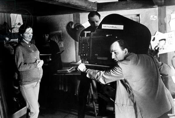 "director Ingmar Bergman directing Liv Ullmann on set of film "" The Hour of the Wolf "" in 1967"