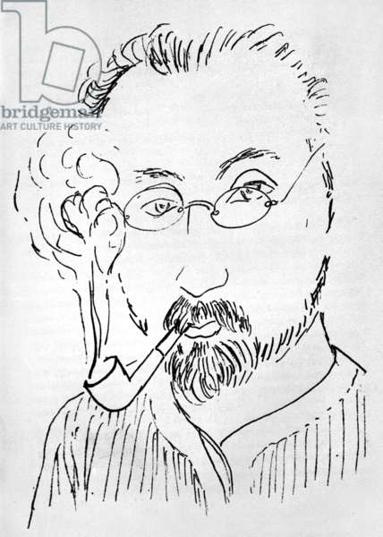 Self portrait of painter Henri Matisse (1869-1954) smoking pipe