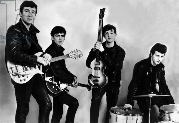 The Beatles : John Lennon, George Harrison, Paul McCartney and Pete Best (original drummer, later replaced by Ringo Starr) December 17, 1961