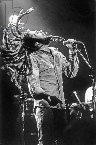 Bob Marley performing at The Roxy Theatre, 9009 West Sunset Boulevard, Los Angeles, November 27th 1979 (b/w photo)