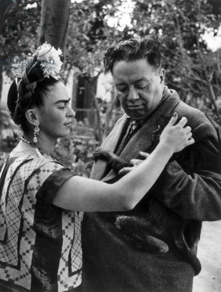 Mexican painters Frida Kahlo (1907-1954) and Diego Rivera (1886-1957) and their pet (monkey) 1948