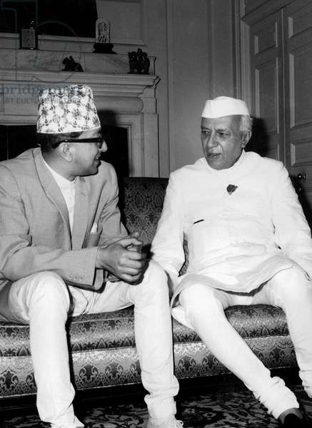 Indian Prime Minister Jawaharlal Nehru with nepalese King  during trip to Nepal April 23, 1962