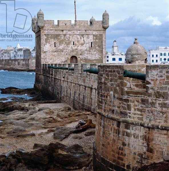 Portuguese tower in Essaouira in Morocco