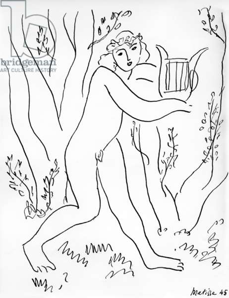 Orpheus and his lyre, 1945 (pen & ink on paper)