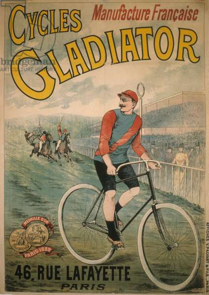 Poster for Gladiator cycles, Manufacture francaise, 46 rue Lafayette Paris.