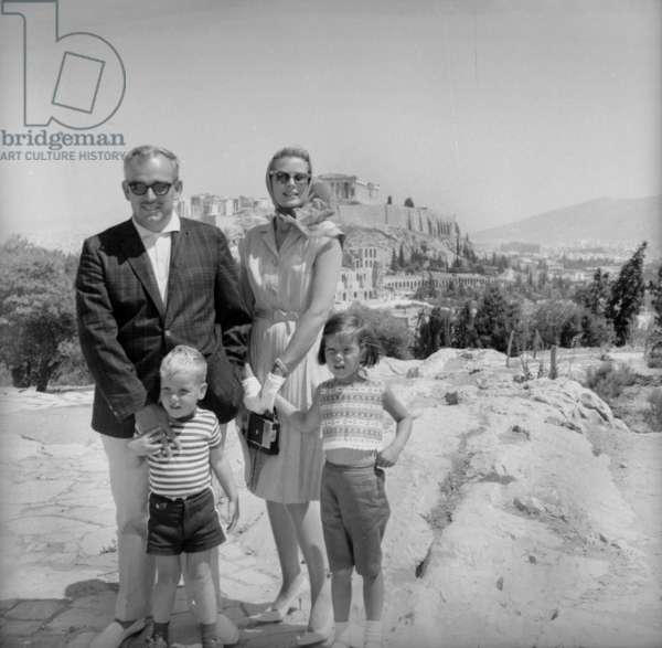 Royal family of Monaco in Athens during cruise on yacht of AristoteOnassis