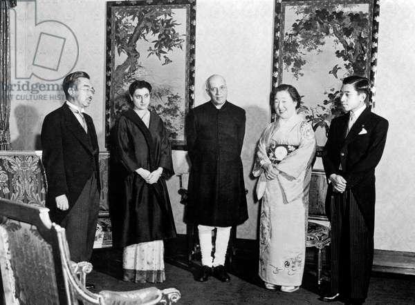 Japanese emperor Hiro Hito, Indira Gandhi, Jawaharlal Nehru, empress Nagako, Prince Akihito on October 1957 in Tokyo