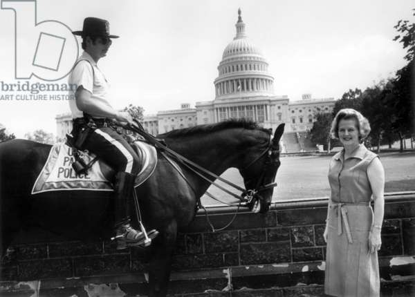 Margaret Thatcher outside capitol in Washington September 21, 1975