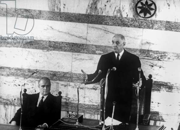 French President Charles de Gaulle, during a speech at parliament in Athens, on l is greek Prime Minister Constantine Karamanlis, May 19, 1963