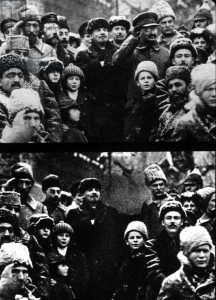 Top : Lev Kamenev, Lenin (Vladimir Ilyich Ulyanov) and Leo Trotsky on 3rd anniversary of the russian revolution, November 7, 1920 ; bottom : rigged picture : Kamenev and Trotsky have disappeared