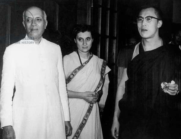 Indian Prime Minister Jawaharlal Nehru, his daughter Indira Gandhi and Dali Lama September 1959