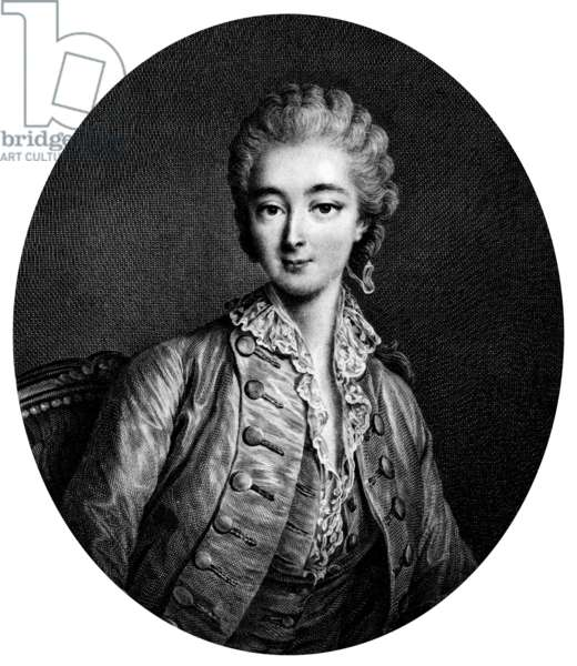 Countess du Barry (1743-1793) was French King  Louis XV's favourite (after the Marchioness ofPompadour in 1769) she was guillotined during the Terror France, engraving by Beauvardet