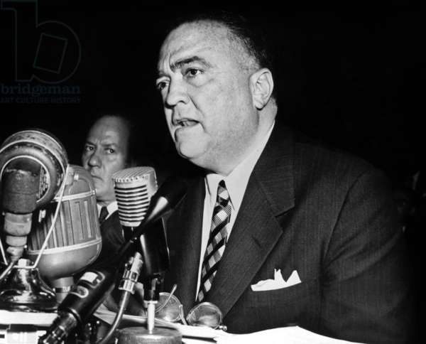 John Edgar Hoover (1895-1972) director of FBI during internal affairs ' meeting during the investigation on Dexter White November 17, 1953