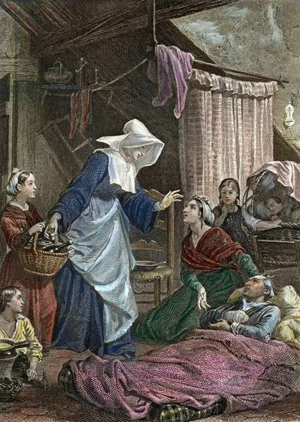 """A Grey Nun visiting a poor family (the man is wounded), engraving for 1852 edition of """"Genie du Christianisme"""" by Francois Rene de Chateaubriand"""