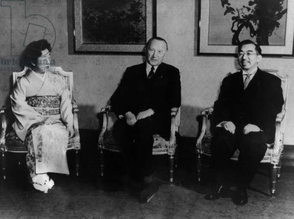 Japanese empress Nagako, German chancellor Conrad Adenauer and japanese emperor Hirohito in Japan on March 26, 1960