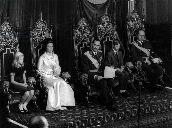 After abdication of his mother Grand Duchess Charlotte of Luxembourg, prince Jean become Grand Duke of Luxembourg on November 14, 1964 : l-r : Princess Marie Astrid (daughter of Jean and Josephine Charlotte), new Grand Duchess Josephine Charlotte of Luxembourg, new Grand Duke Jean of Luxembourg, prince Henri (son of Jean and Josephine-Charlotte) and prince Charles (brother of Jean)