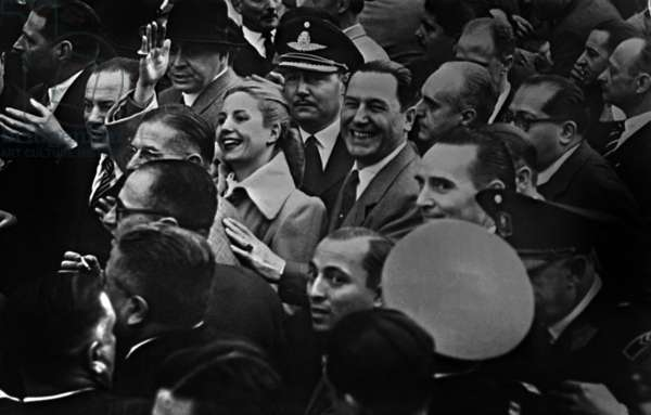 Eva Peron (1919-1952, born Maria Eva Duarte known as Evita) here with her husband argentinian President Juan Peron c. 1952