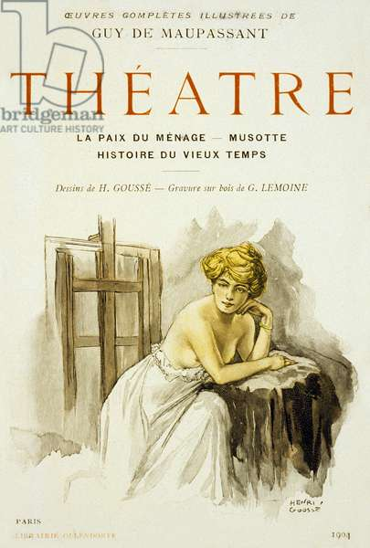 Cover of book, plays by Guy de Maupassant, 1904, France, drawing by H. Gousse