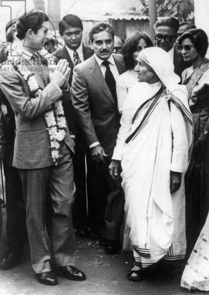 During his visit in India, prince of Wales Charles meeting Mother Teresa in Calcutta December 9, 1980