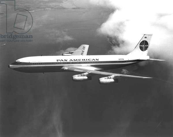 "Boeing 707 ""Clipper America"" plane of aerial company Pan American c. 1958"