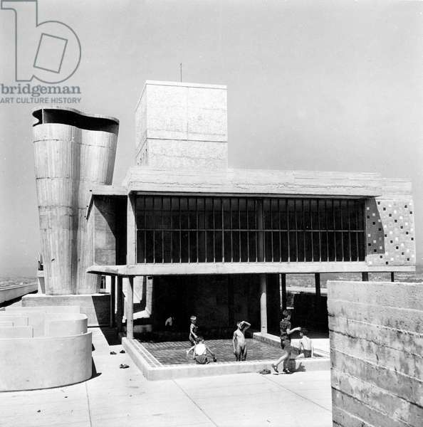 "The ""Cite Radieuse"" in Marseille, France, designed by Le Corbusier (Charles Edouard Jeanneret Gris) in 1947-1952"