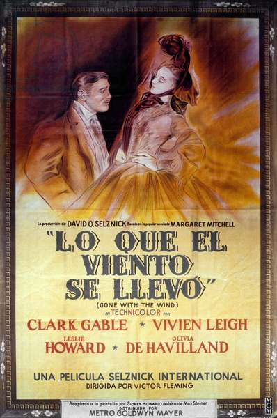 Affiche du film Gone with the wind de Victor Fleming et George Cukor, d'après un roman de Margaret Mitchell, avec Clark Gable, Vivien Leigh (Scarlett O'Hara), 1939