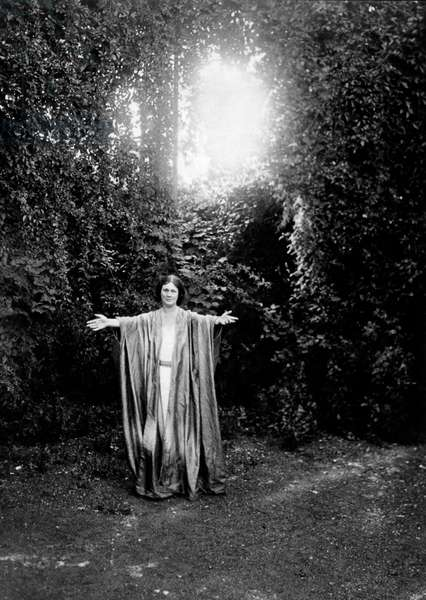 Isadora Duncan (1878-1927) American dancer pioneer of modern dance, here in a forest, c. 1920