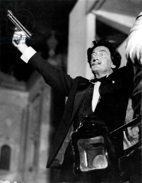 painter Salvador Dali (1904-1989) anouncing opening of venice festival on August 22, 1961