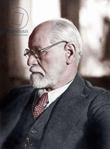 Austrian psychoanalyst Sigmund Freud (1856-1939) in 1925 colourized document