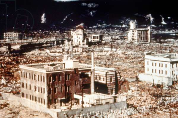 View of the ruins of Hiroshima shortly after the first American atomic bombing on August 06, 1945