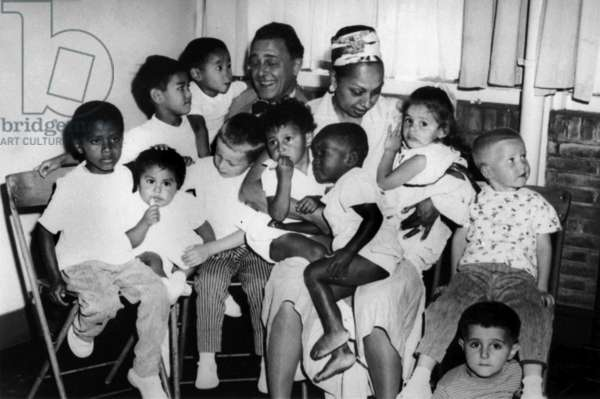 Josephine Baker with her second husband Jo Bouillon and her children in Netherlands in 1959