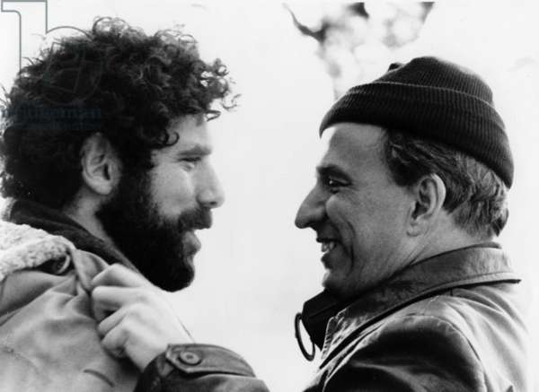 Ingmar Bergman and Elliott Gould on set of film The Touch 1970