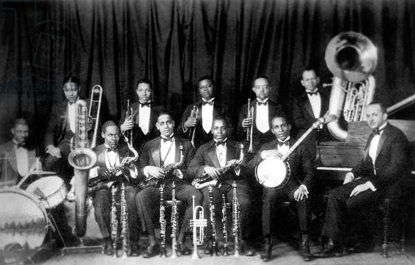 The Fletcher Henderson Band with Fletcher Henderson (at piano) jazz trumpet player Louis Armstrong (c) October 1924