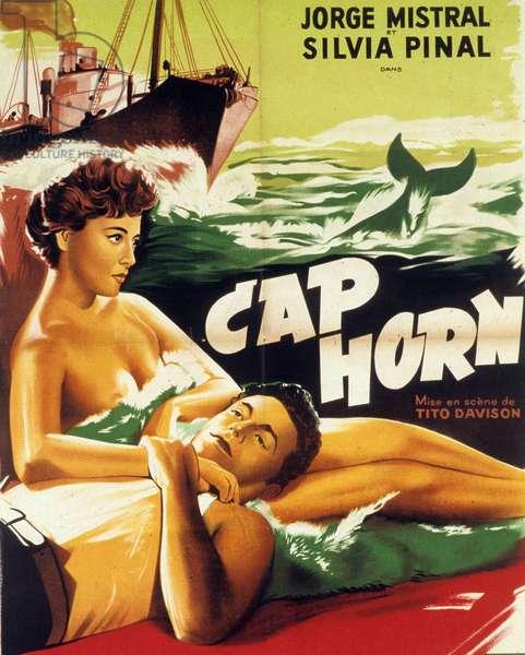 Affiche du film Cap Horn (Cabo de hornos) de TitoDavidson avec Jorge Mistral et Sylvia Pinal 1957