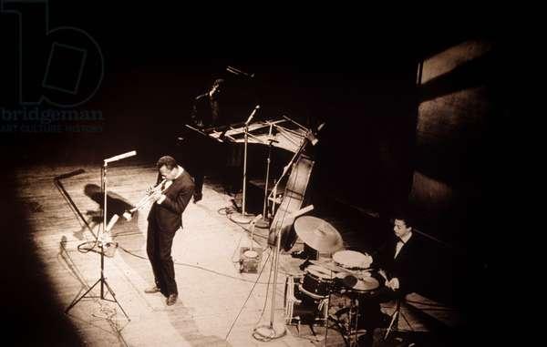 American jazz trumpet player Miles Davis on stage at salle Pleyel in Paris, 1964