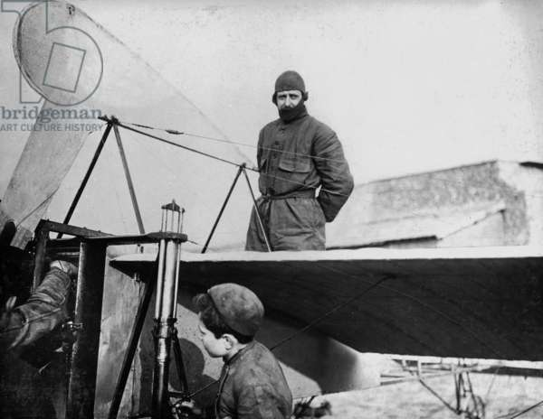 French pilot Louis Bleriot aboard his monoplane Bleriot 11 in 1909
