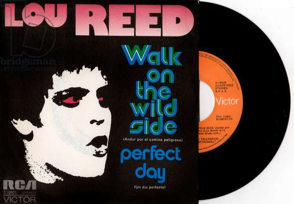 """Lou Reed singles """"Walk on the wild side"""" and """"Perfect day"""" vinyl record sleeve 1973"""