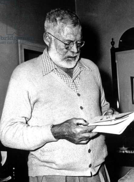 American writer Ernest Hemingway (1899-1961) in Madrid October 01, 1956